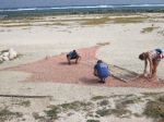 The crew makes a new turtle stretcher net after the old one finally broke. Note the repurposing of marine debris! (Photo by Meg Duhr)