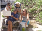 Extra long ethernet cable+tarp to prevent birds from pooping on your laptop=outdoor skype capabilities on Tern Island! Here the crew talks with teachers assembled at the Hawaii Science Teachers Association annual meeting in Honolulu.