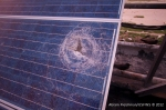 Solar panel shattered by flying debris