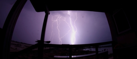 A major lightning strike just a few meters from the living quarters on Tern Island (Photo by FWS Volunteer Mike Johns)