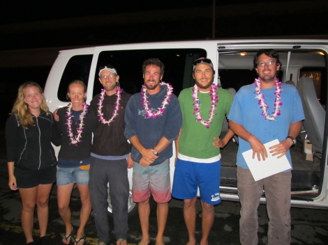 The Tern Crew, moments after they stepped off the Kahana. From left to right: Olivia Bailey (med-evaced earlier this fall), Morgan Gilmour, Abram Fleishman, Mike Johns, Larry Chlebeck, and Chad Bell.